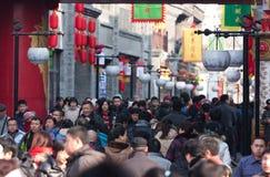Kinesiskt nytt år Beijing Qianmen kommersiell st Arkivbild