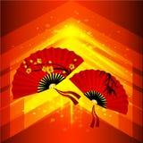 kinesiskt nytt år för bakgrund Abstrakt vektorbakgrund med kinesiska fans Härliga scharlakansröda fans med körsbärsröda blomninga royaltyfri illustrationer