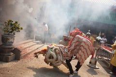 Kinesiskt nytt år lejondansen Arkivbild