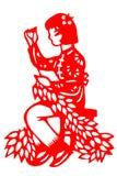 Kinesiskt papper-snitt kvinnaarbete Arkivbilder