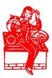 Kinesiskt papper-snitt kvinnaarbete Royaltyfri Bild