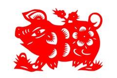 Kinesiskt papper-snitt svin Arkivfoton