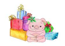 kinesiskt pigår greeting nytt år för kort Piggy illustration för vattenfärgtecknad film Svin med gåvor Isolerat på vit royaltyfri illustrationer
