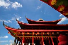 kinesiskt rött tempel Arkivfoton
