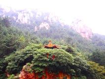 Kinesiskt tak och berg royaltyfria bilder
