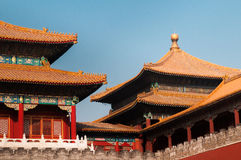 Kinesiskt tak på Forbidden City Arkivfoto