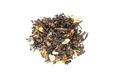 Kinesiskt te med jasminkronblad som isoleras på vit, bästa sikt Royaltyfri Bild