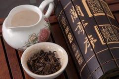 Kinesiskt te och Lantingxu skrivkonst Royaltyfri Fotografi