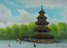 Kinesiskt torn i den engelska trädgården i Munich stock illustrationer