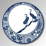 Kinesiskt traditionellt blått och vitt porslin, Grus Japonensis royaltyfri illustrationer