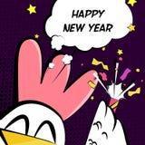 Kinesiskt vektorkort för nytt år med tuppen, firecrackeren och text royaltyfri illustrationer