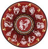 Kinesiskt zodiakhjul med tecken royaltyfri illustrationer