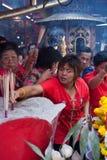 Kineskvarter Bangkok, under det kinesiska nya året Royaltyfri Bild