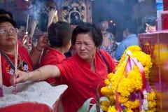 Kineskvarter Bangkok, under det kinesiska nya året Arkivfoton