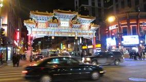 Kineskvarter på natten arkivfilmer