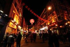 Kineskvarter på natten i London Arkivbilder