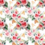 Kinesrosen, blomman, buketten, vattenfärg, mönstrar sömlöst Royaltyfri Bild
