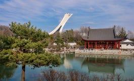 Kinesträdgård av den Montreal botaniska trädgården arkivfoton