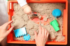 Kinetic sand play baby Royalty Free Stock Photography