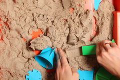 Kinetic sand play baby Royalty Free Stock Photo
