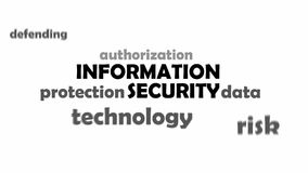 Kinetic typography - information security. A kinetic typography of information security related items royalty free illustration