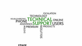 Kinetic typography - technical support. A kinetic typography with technical support related items vector illustration