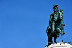 Kinf Jose I monument in Praca do Comercio with copy space. King Jose I bronze statue in the iconic Commerce Square in the very centre of Lisbon Royalty Free Stock Photos