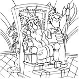 King. Black-and-white illustration (coloring page) with the characters of a folk tale: king sitting in his throne surrounded by courtiers Stock Photography