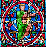 King. Stained glass decoration in Notre Dame cathedral in Paris - a king Royalty Free Stock Image
