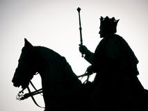 King. Silhouette of a historic statue - ludwig I. at the leopoldstrasse in munich Royalty Free Stock Photo