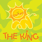 King. Cute Lion Vector with colored background Royalty Free Stock Photography