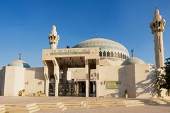 King Abdullah Mosque against the blue sky in Amman, Jordan. royalty free stock photography