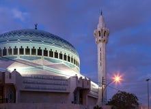 King Abdullah Mosque at night in Amman, Jordan Royalty Free Stock Image