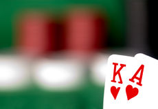 King and ace 1. Suited king and ace with poker chips in the background Stock Images