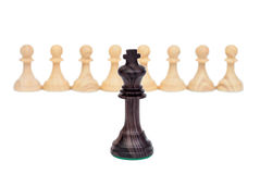 The king against pawns. Stock Photos