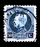 King Albert I (1875-1934), serie, circa 1921. MOSCOW, RUSSIA - MAY 15, 2018: A stamp printed in Belgium shows King Albert I (1875-1934), serie, circa 1921 stock photography