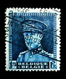 King Albert I, serie, circa 1931. MOSCOW, RUSSIA - MAY 15, 2018: A stamp printed in Belgium shows King Albert I, serie, circa 1931 stock images