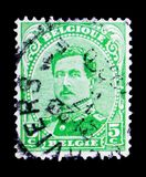 King Albert I - Type II, serie, circa 1915. MOSCOW, RUSSIA - MAY 15, 2018: A stamp printed in Belgium shows King Albert I - Type II, serie, circa 1915 stock images