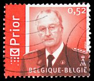 King Albert II in uniform Prior 0,52 euro, serie, circa 2006. MOSCOW, RUSSIA - FEBRUARY 22, 2019: A stamp printed in Belgium shows King Albert II in uniform royalty free stock images