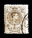 King Alfonso XIII, serie, circa 1910. MOSCOW, RUSSIA - MAY 10, 2018: A stamp printed in Spain shows King Alfonso XIII, serie, circa 1910 stock photography