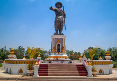 King Anouvong Statue, Vientiane, Laos. In Chao Anouvong Park stands the majestic statue of King Anouvong. The park was named after the King and he is highly Royalty Free Stock Image