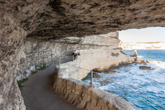 King Aragon stairs steps in  Bonifacio cliff coast rocks Corsic Royalty Free Stock Images