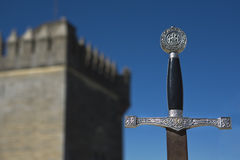 King Arthur's Excalibur embedded in the stone Royalty Free Stock Images