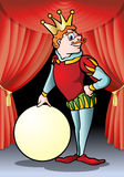 King ball cartoon. Illustration of a medieval king hold blank round banner cartoon on opera stage background Royalty Free Stock Photos