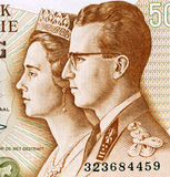 King Baudouin I and Queen Fabiola. On 50 Francs 1966 Banknote from Belgium Royalty Free Stock Photos