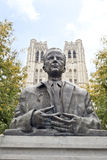 King Baudouin Statue in front of St. Michael and St. Gudula Cath Royalty Free Stock Photos