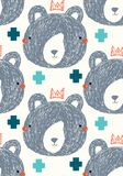 King bear vector seamless repeat pattern background with gray bear faces and aqua and teal plus signs. King bear vector seamless repeat pattern with gray bear royalty free illustration