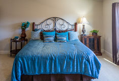 King Bed in Blue Stock Photo