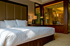 King bed marble bathroom five star hotel suite stock image