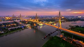 King Bhumibol Bridge, Bridge Of Father, Bangkok,Thailand. Shoot from the top of building Stock Images